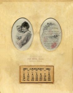 1921 promotional calendar, Paul Owens Jeweler, Slaton