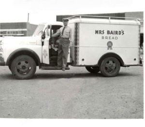 Barney Wilson, Slaton delivery truck for Mrs Baird's Bread, 1955