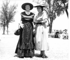 Slaton's 50th anniversary in 1961. Lula Caldwell, Ethel Young in pioneer garb.