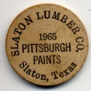 1965 Slaton Lumber Wooden Nickel