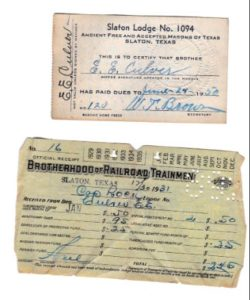 Erskine Culver Masons of Texas and Brotherhood of Railroad Trainment union cards