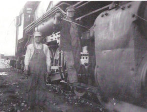 Joe V. Bickerstaff, oiling the drivers of his locomotive