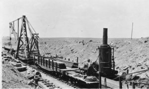 1910 ATS&F rail laying machine near Slaton